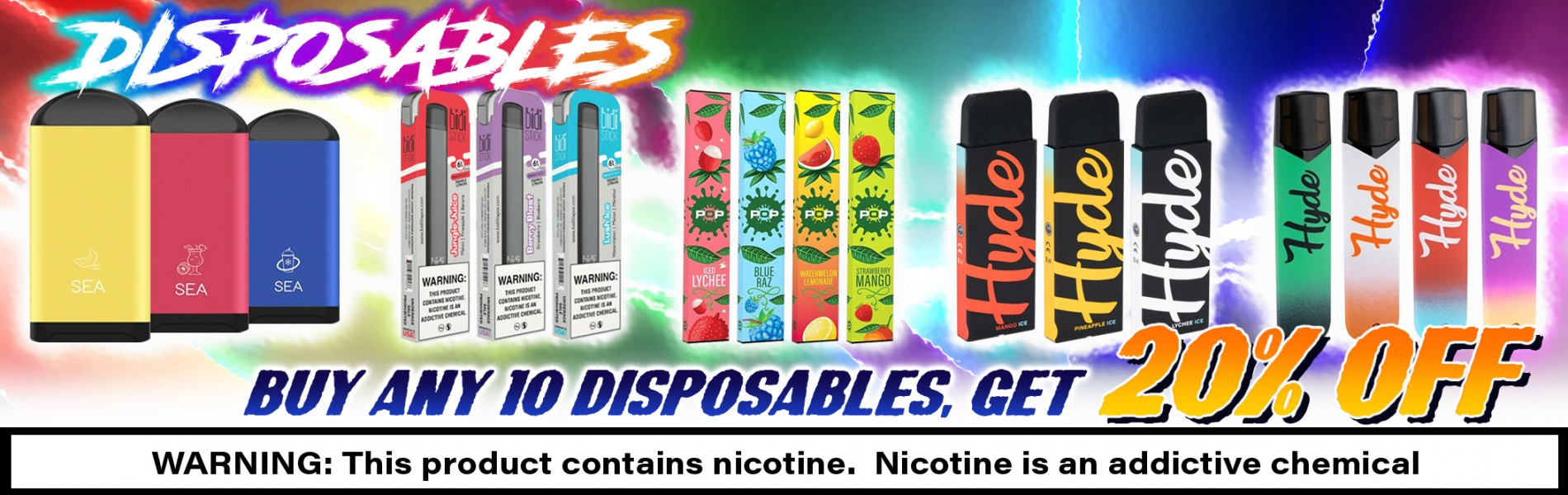 Disposables - Buy Any 10 Disposables, Get 20% Off